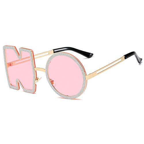 DFSMG Moda Diamante Gafas de Sol Mujer diseño de Lujo Letra de Metal Sin Gafas de Sol Mujer UV400 (Lenses Color : 04)