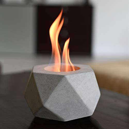 Colsen Tabletop Rubbing Alcohol Fireplace Indoor Outdoor Fire Pit Portable Fire Concrete Bowl Pot Fireplace (HEX Small)