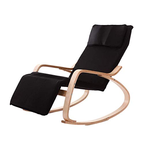 AJH-Lounge chair Lazy Chair, Single Sofa Chair Removable Wooden Rocking Chair Nap Lounge Chair Fabric Adult Small Apartment Balcony Living Room