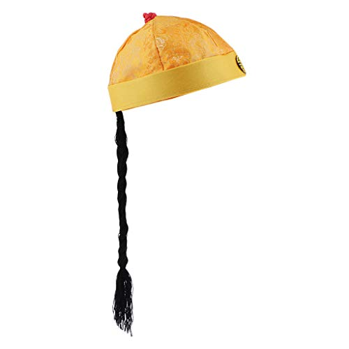 P Prettyia Mandarin Hut Mit Pferdeschwanz Mütze Chinesischer Periode Zubehör Hut Traditionelles Chinesisches Kostüm - Gelb, 55cm