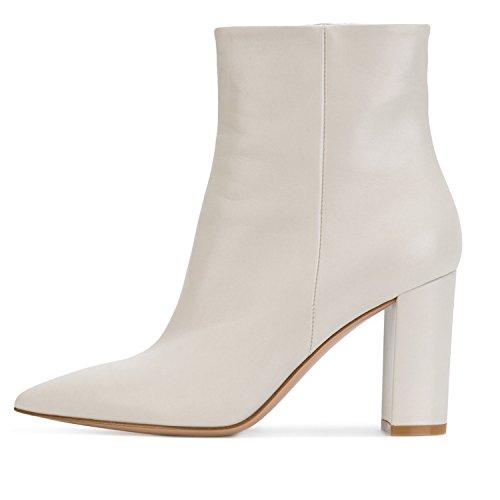 ELASHE Botas Altas de Mujer | 8cm Zapatos de tacón | Botines de Tacón Ancho Botas con Cremallera