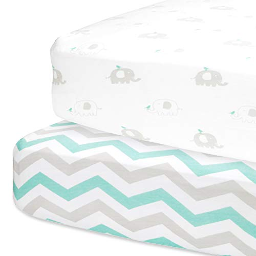 Cuddly Cubs Fitted Crib Sheets Set – 2 Pack – Jersey Cotton Crib Mattress Sheets for Baby Boy, Girl Crib –Grey, Mint Green Elephant, Chveron Toddler Bed Sheets –Fits on Standard 28 x 52 Mattress