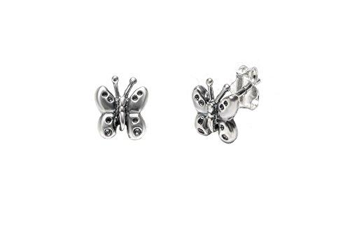Pori Jewelers - Orecchini a perno a forma di farfalla in argento Sterling ossidato