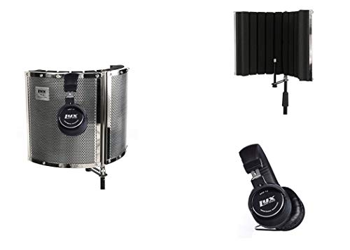 LyxPro VRI-30 Sound Absorbing and Vocal Recording Microphone Isolation Shield Panel With Studio Monitor Professional Headphones For Home Office Portable & Foldable Stand Mount Adjustable