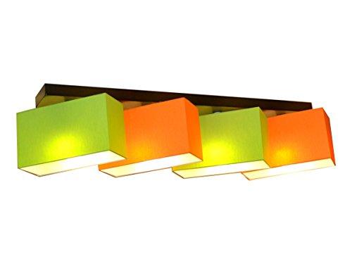 Deckenlampe Deckenleuchte Milano B4DL Lampe Leuchte 4 flammig verschiedene Varianten (Grün-Orange)