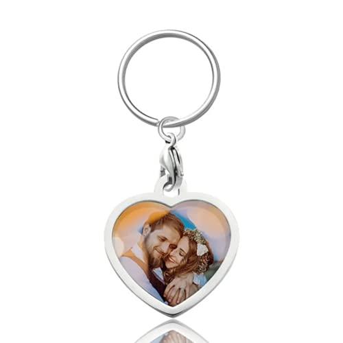 SOUFEEL Personalisierter Schlüsselanhänger mit Foto Schlüsselbund Anhänger aus Edelstahl Foto Geschenk für Geburtstag Weihnachten Herz