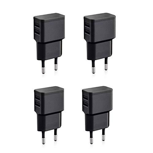 Wicked Chili 4X Cargadores con Doble USB de Carga rápida Universal para Smartphone, Smart Watch, Powerbank y Altavoz Bluetooth - Cargador USB de Pared con 2 Puertos USB de 90 Grados (12W/2,4A) Negro