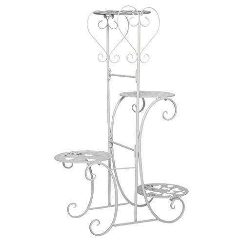 Seciie Blumenständer mit 4 Ablagen Blumentreppe aus Metall Pflanzentreppe Pflanzenständer für Innen-Balkon Wohzimmer Outdoor Garten Deko, 50 x 22 x 82cm (Weiß)