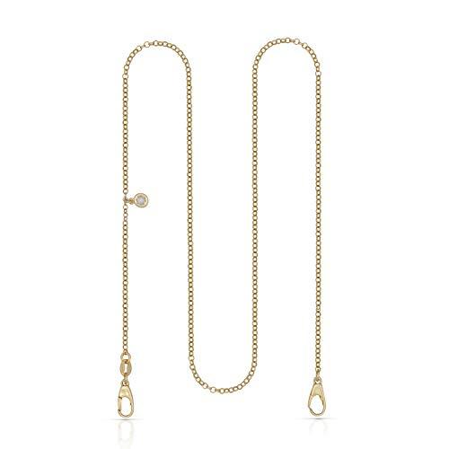 Damen und Herren Maskenkette 925/- Sterling Silber 50cm Glänzend Zirkonia gelb 026200014V