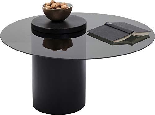 Kare Design Couchtisch Loft Ø80cm, Runder Couchtisch in der Farbe Schwarz mit Tischplatte aus Glas, zeitloser Tisch für das Wohnzimmer  (H/B/T) 48 80 80