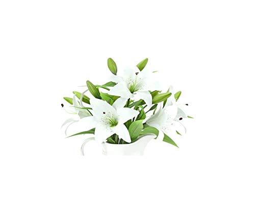 Luckylele Flores artificiales Falso Lily 4 tallos de lirios táctiles reales Ramo de flores artificiales para el hogar Tienda de casas Fiesta de la oficina Restaurante Lindo DIY Disposición floral Deco
