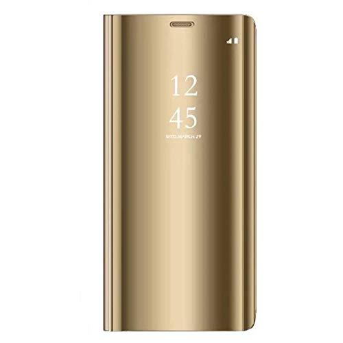 Alsoar - Custodia protettiva per Samsung Galaxy A7 2018, a 360°, protezione intelligente, vista trasparente, a specchio, colore: oro