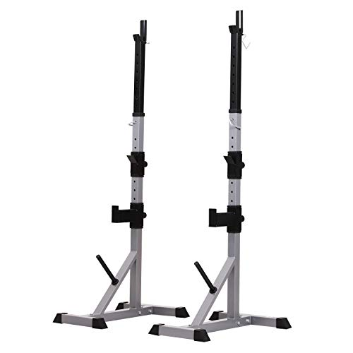 Soozier Premium Adjustable Barbell Rack Squat Stand Series Power Rack Cage Heavy Duty Design for Home Gym Fitness Grey