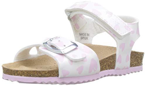 Geox B Sandal CHALKI Girl, Sandalias Niñas, White/Pink C0406, 22 EU