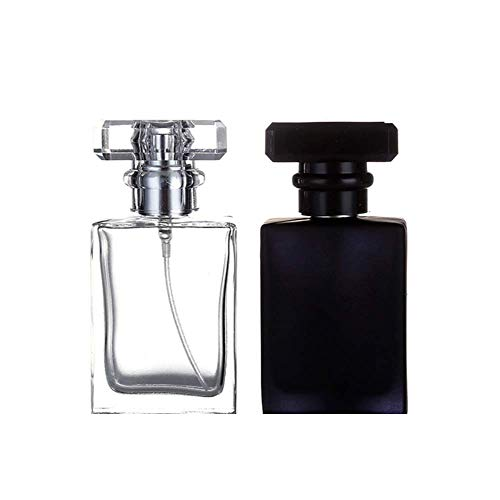 Kaptin Parfümflasche, 30 ml, Glas, nachfüllbar, quadratisch, tragbar, leere Flasche, Parfümzerstäuber, transparent + schwarz, 2 Stück