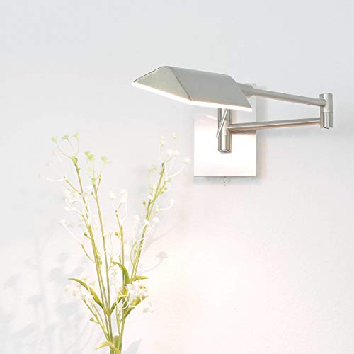 Wandleuchte in Edelstahl Silber Bauhaus Design 1xG9 bis zu 33 Watt 230V aus Glas & Schlafzimmer Küche Wohnzimmer Esszimmer Lampen Leuchte Beleuchtung innen