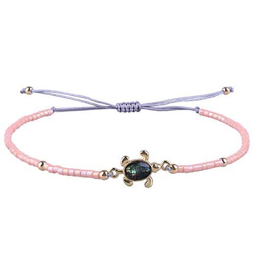 KELITCH Armbänder Zum Damen Männer Japanisch Importieren Perle Empfindlich Schildkröte Handgefertigt Einstellbar String Armreif Freundschaft Charme Armband Zum Mädchen (Pink)