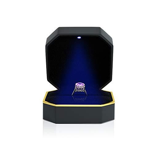 porta anelli,anelli scatole anello fidanzamento donna,Scatola per anello in velluto con display a LED per gioielli, confezione regalo per proposta, fidanzamento, matrimonio