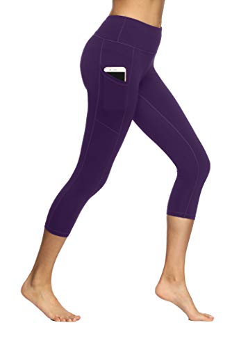 Fengbay Capri Leggings for Women,Yoga Capris with Pockets Yoga PantsWorkout Pantsfor Women Purple