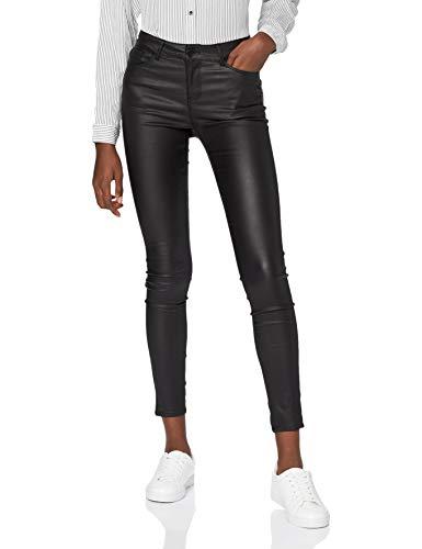 VERO MODA Damen Hose Seven NW Slim Coated Pants Schwarz, Farbe:Schwarz, Weite/Länge:XS/30