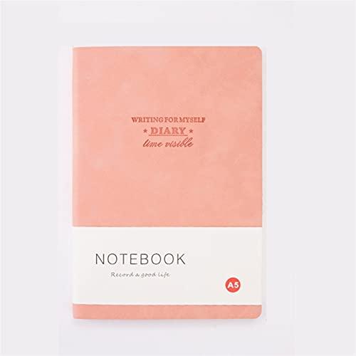 WANGYIYI 2pcs Cuaderno de Tapa Blanda de PU Espesar la página Interior Cuadernos Forrados Protección Ocular Diarios de Estudiantes para la Oficina, el hogar, la Escuela, los Negocios (Color : Pink)
