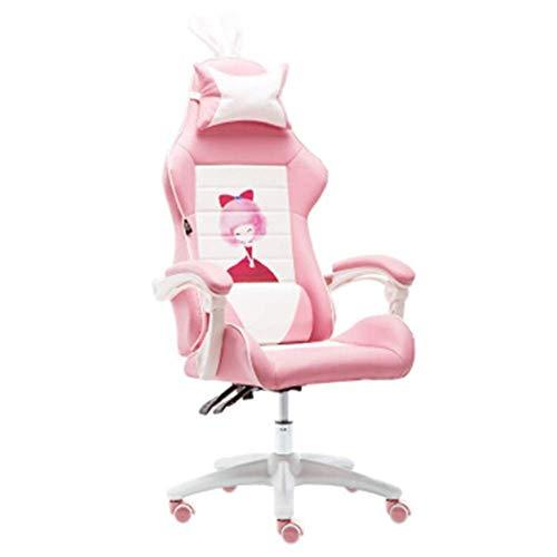 Gaming stoel kantoor aan huis spel meisje hart zetel concurrerende wheeler roze meester live-computer stoel roze classic (geen voetsteun) nylon voet draaibare lift armsteun-YoungerGirl + voetensteun Z