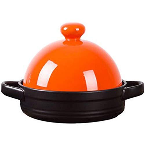 MYYINGBIN Orange Tajine Topf HitzebestäNdiger Keramik Slow Cooker Mikro-Schnellkochtopf Ton AufläUfe Mit VerbrüHschutzgriff, 21.5 cm