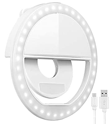 Selfie Ring Light, Oternal Selfie Light Rechargeable Portable Clip-on Selfie Fill Ring Light for iPhone Android Smart Phone Photography, Camera Video, Girl Makes up (White A) by Oternal