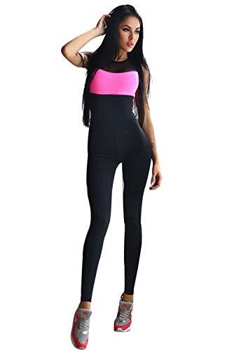 Tuta da Ginnastica Donna Taglie Forti Jumpsuit Schiena Scoperta Abbigliamento Sportivo Estivo Salopetta Elasticizzata Tute Aderenti Ragazza Senza Maniche Tracksuit Sportwear per Yoga Jogging Fitness