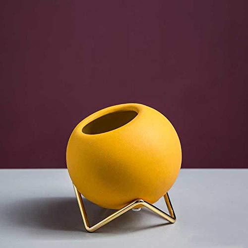 Vase Runde Kleine Blumenvasen Keramik Mit Gold Metallhalter Für Tischdekoration Gelb Blau Orange Vase Porzellan Blumentopf Gelb