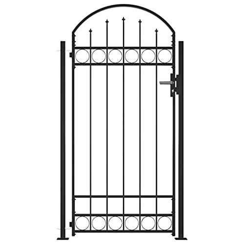 vidaXL Fence Gate with Arched Top and 2 Posts Outdoor Garden Yard Patio Entrance Way Door Security...