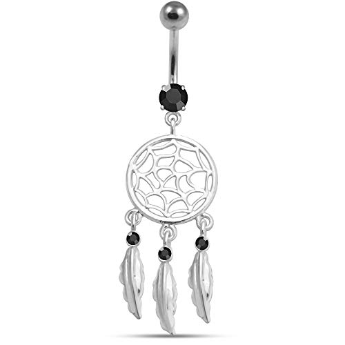 Black Gemstone Trendy Dream Catcher Dangling Design 925 Sterling Silver Belly Button Ring