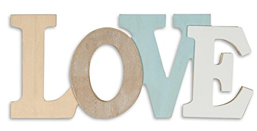 levandeo Letras 3D Love 30 x 13 cm, madera, color azul y blanco natural, letras decorativas