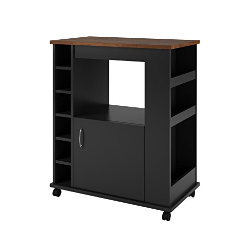 Clementine Kitchen Cart Black/Old Fashioned Pine - Room & Joy