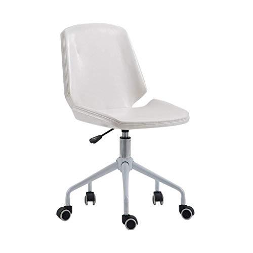 JIEER-C Ergonomische stoel bureaustoel draaibaar leer verstelbare stalen poten met scheerapparaat en lift wit vrijetijdsstoelen maximale belasting 150 kg