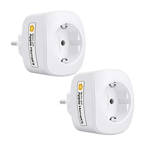 VOCOlinc Smart Plug Wi-Fi Steckdose Funktionieren Mit HomeKit (iOS13 or +) Alexa & Google Assistant Energieüberwachung Timer Kein Hub Erforderlich 10A 2300W 2.4GHz (2PACK-VP3)