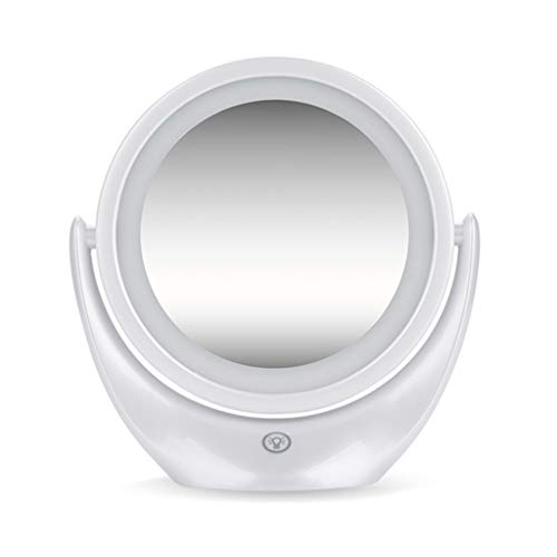 QULONG Vanity Mirror,Double Sided Dimmable Cosmetic Mirror with Touch Control 360°Rotation Battery Powered, Lighted Makeup Mirror for Home Travel Best Woman Gift