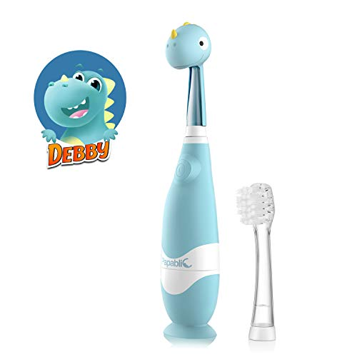 Papablic Debby Toddler Sonic Electric Toothbrush with Dino Covers for Babies and Toddlers Ages 13 Years