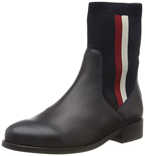 Tommy Hilfiger Damen Knitted Flat Boot Stiefeletten, Blau (Midnight 403), 39 EU