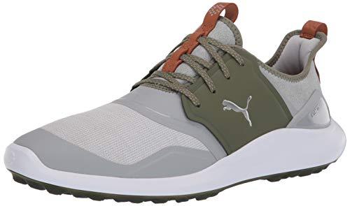 Puma Golf Men's Ignite Nxt Lace Golf Shoe, High Rise-Puma Silver-Deep Lichen Green, 11.5 M US