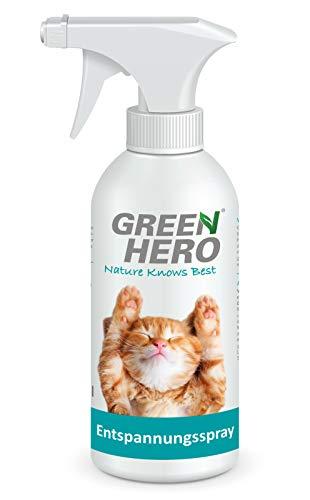 Green Hero Entspannungsspray für Katzen enthält beruhigende Duftstoffe wie Baldrian, Lavendel und natürliche Katzenminze für Wohlbefinden und Entspannung 500 ml