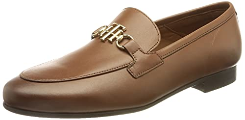 Tommy Hilfiger TH Hardware Leather Loafer, Mocassino Donna, Invernale Cognac, 36 EU
