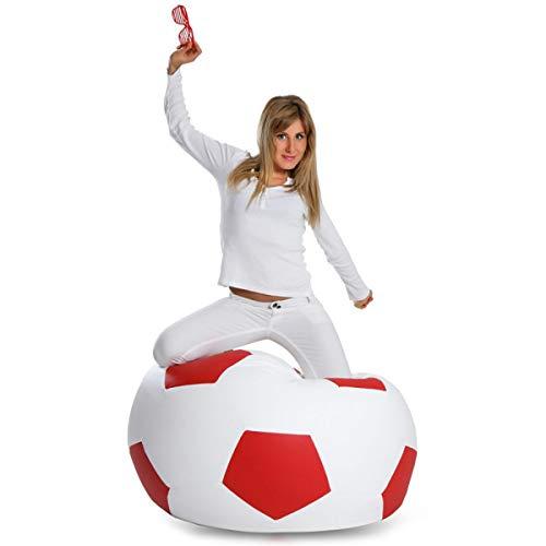 Ecopuf Fußball, personalisierbar, mit den Farben Ihres Teams, aus Kunstleder, Größe M 65 x 45 cm