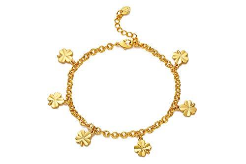 Women Girls Cute Circle Bracelet Tiny Charm Dainty Handmade Bracelet, Silver Tennis Bracelets Wedding Gifts for Women Golden10