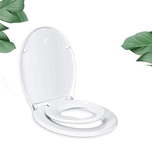 WC Sitz family, TACKLIFE Toilettensitz mit Abnehmbarer Kindersitz, 2 Facher Soft-Close Funktion, Quick-Release Funktion, O Form Toilettendeckel aus PP Matieral, Einfache Montage, weiß Krobrille