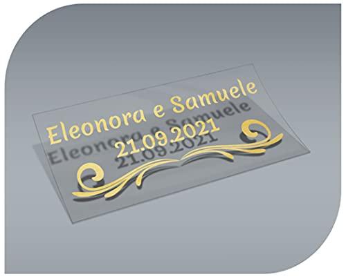 Pegatinas Personalizadas Transparentes con Nombre y Fecha, Etiquetas Adhesivas para Invitacion Boda, Bautizo, Compromiso, Comunion, Cumpleaños, Fiesta, Vintage, Sellos (Modelo 2)