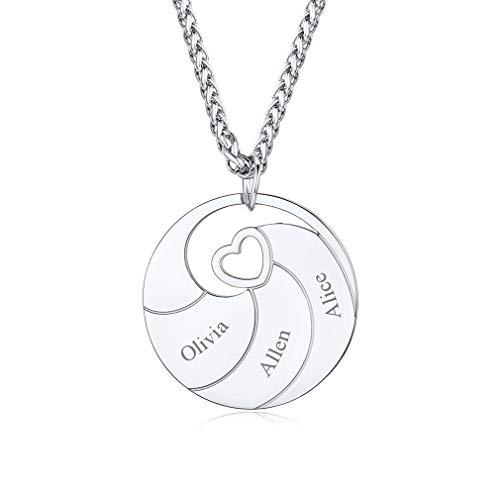 Custom4U Collar Personalizado con Tres Nombres Grabados Colgante Redondo Acero Metálico para Mejores Amigos para Siempre Regalo DIY