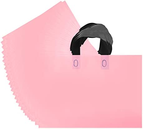 Genenic 50 Pack Plastic Shopping Bags with Handles Matte Pink Reusable Bags for Packaging Products product image