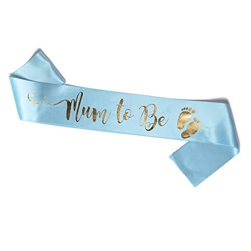 Sjaal Mum to Be blauw en goud voor de babyshower (Mum Blauw)