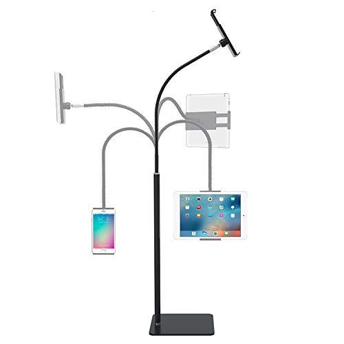 Soporte de pie para tablet con rotación de 360 grados, cuello de cisne flexible, soporte ajustable para teléfono móvil, tableta de 3.5 a 10.6 pulgadas (negro)